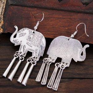 Boho silver earring